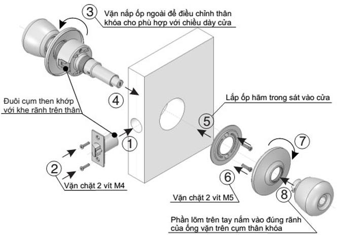 cách lắp ổ khóa tay nắm tròn