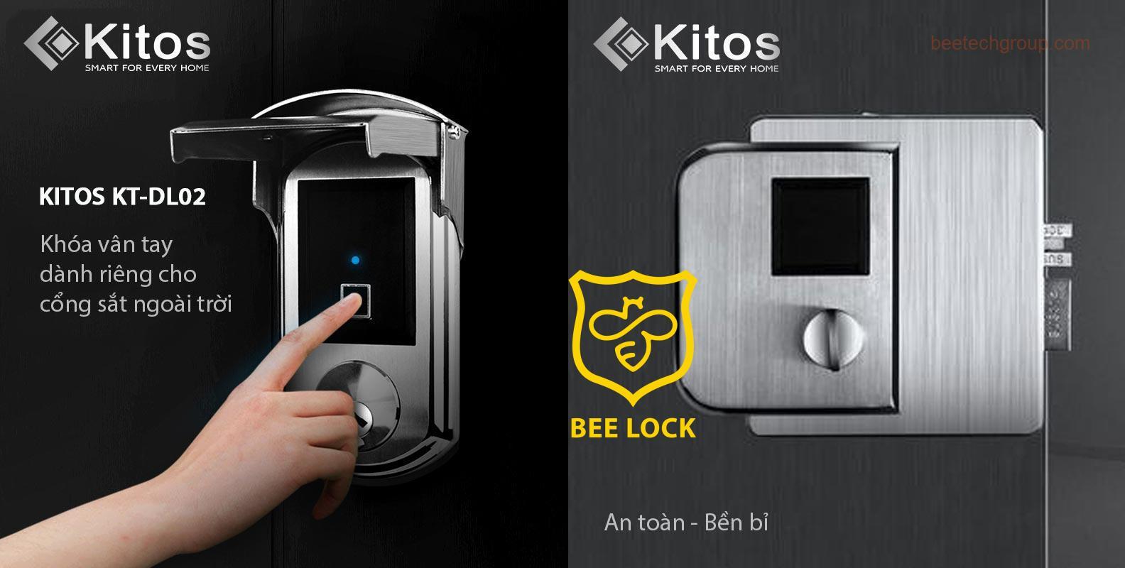 Khóa cửa vân tay cổng sắt Kitos KT-DL02