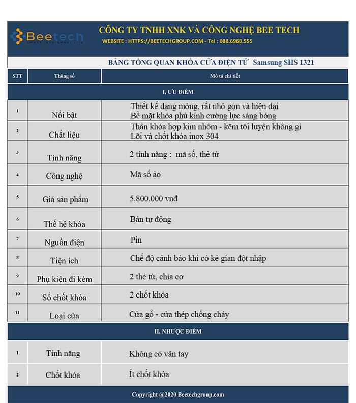 Thông số khóa Samsung SHS1321