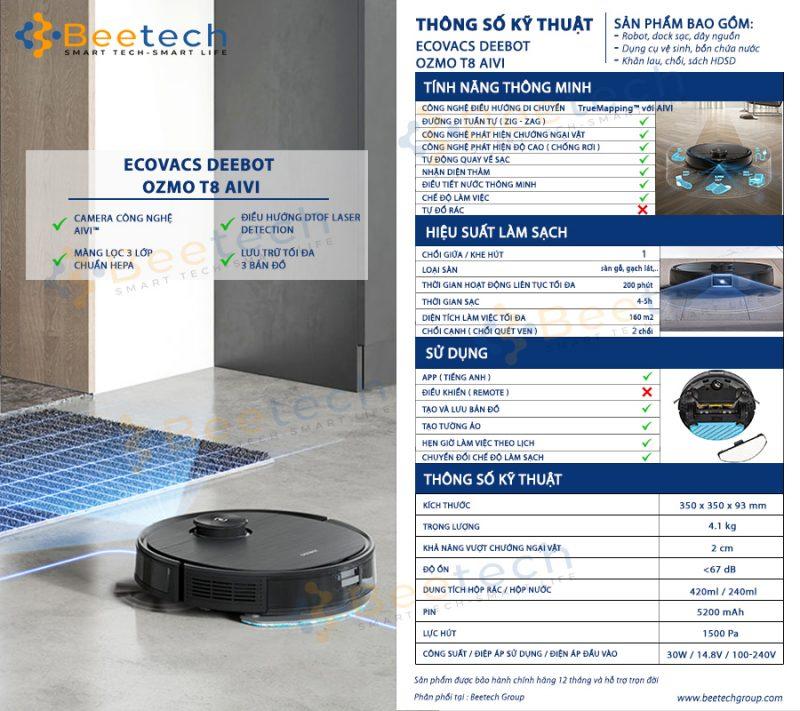 Thông số kỹ thuật robot hút bụi lau nhà Ecovacs Deebot T8 AIVI