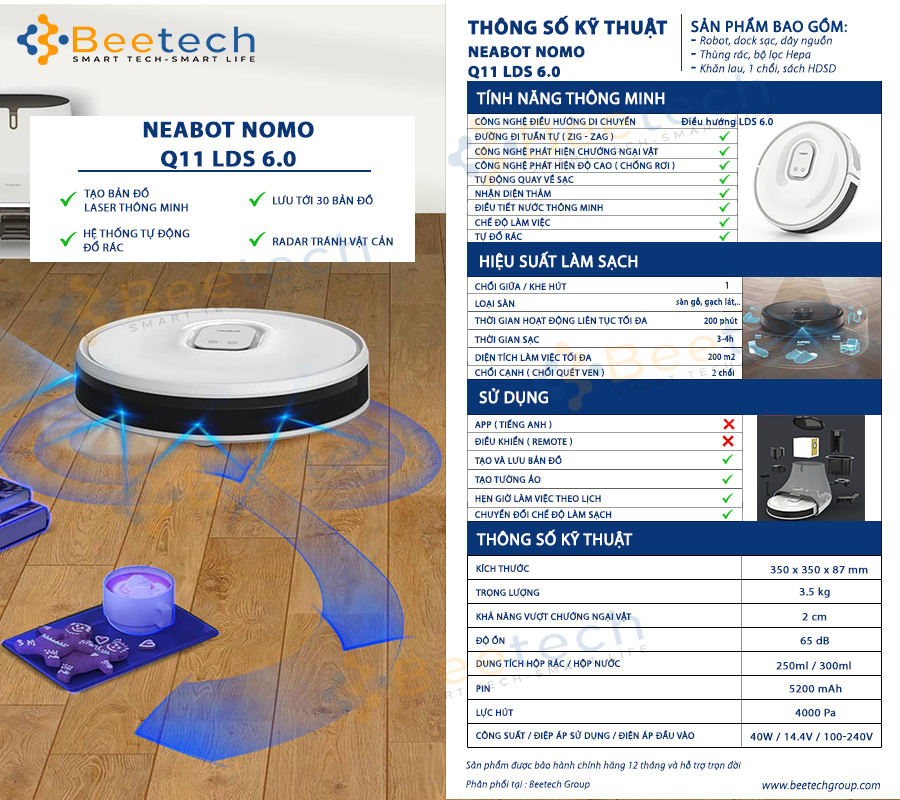 Robot hút bụi Neabot Nomo Q11 LDS 6.0
